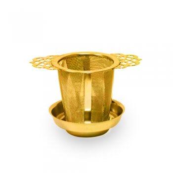 Passe-Thé doré avec couvercle